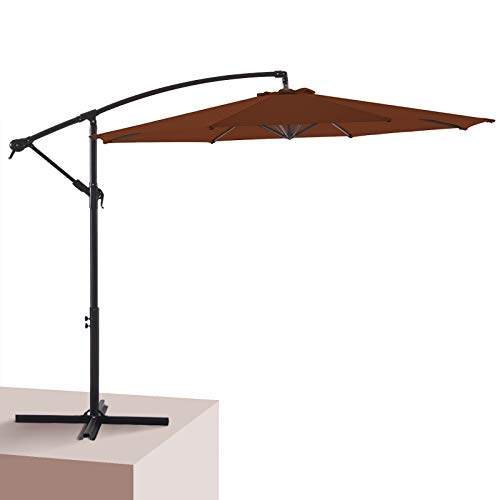Wikiwiki Patio Offset Hanging Umbrella 10 FT Cantilever Outdoor Umbrellas w/Infinite Tilt, Fade Resistant & Waterproof Solution-dyed Canopy & Cross Base, for Yard, Garden, Deck & Lawn (Brick Red)