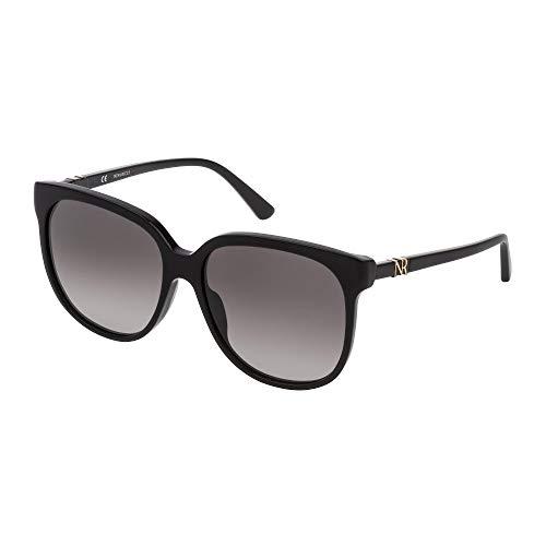 Nina Ricci - Gafas de sol SNR196 0700 57-15-140 para mujer, negro brillante, lentes ahumadas degradadas