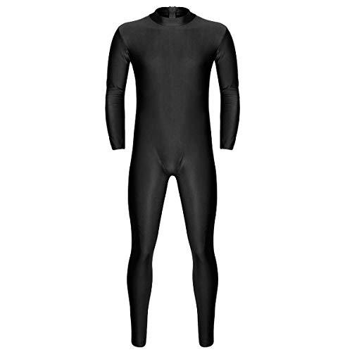 YiZYiF Body da Uomo Tuta Intera Lunga Leotard Bodysuit Unitard Catsuit da Uomo con Cerniera Inferiore Leggings Tuta da Ginnastica Jumpsuit Underwear Sportswear Allenamento Nero Large