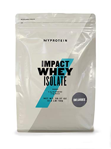 Myprotein® Impact Whey Isolate Protein Powder, Gluten Free Protein Powder, Muscle Mass Protein Powder, Dietary Supplement for Weight Loss, GMO & Soy Free, Whey Protein Powder , Unflavored, 2.2 Lbs