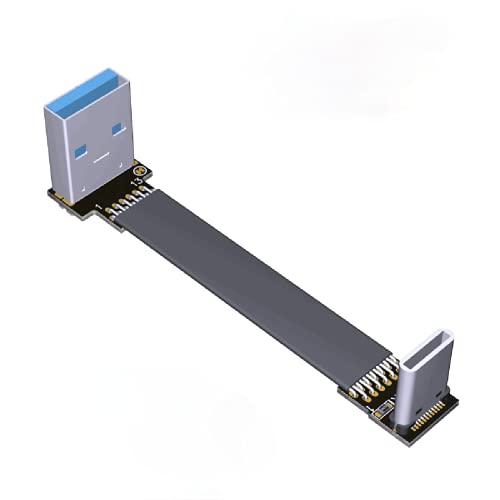 ADT-LINK USB 3.0 Tipo-A a USB3.1 Tipo-C Macho Arriba/Abajo Ángulo USB Sincronización de datos y Cable de carga USB-C Adaptador de conector FPC FPV Flat (1.5m, S2-T2)