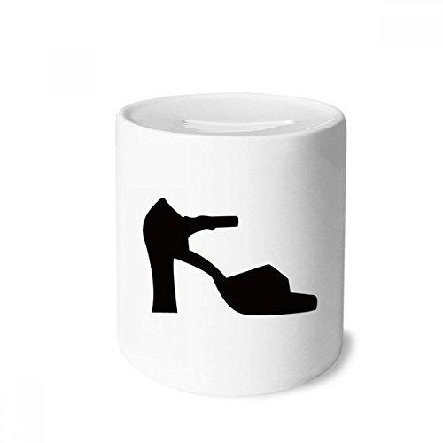 DIYthinker Saltos altos femininos preto padrão contorno caixa dinheiro caixa cerâmica porta-moedas presente cofrinho