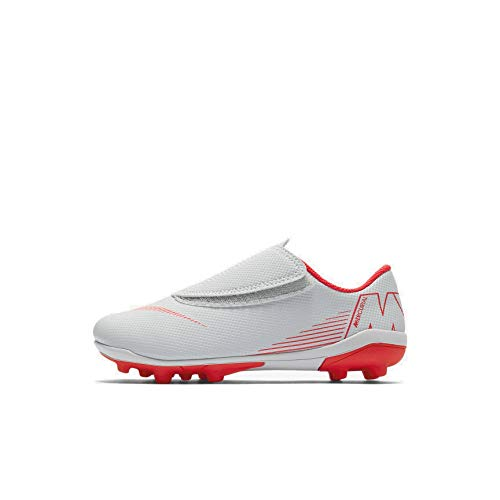 Nike Jr Vapor 12 Club PS (V) FG/MG, Zapatillas de fútbol Sala Unisex niño, Multicolor (Wolf Grey/Lt Crimson-Black 060), 30.5 EU