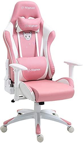 Sigtua, Gaming Stuhl PC-Stuhl Höhenverstellbarer Armlehnen PINK Gamer Computerstuhl Stuhl Chefsessel Ergonomischer Drehstuhl Schreibtischstuhl mit hohe Rückenlehne Kopfstütze und Lordosenstütze, Rosa