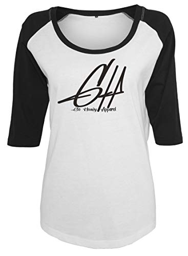 GO HEAVY Camiseta de Manga Larga para Mujer Camiseta Deportiva de Fitness | Camiseta Deportiva de Yoga Graphic Blanco/Negro XS