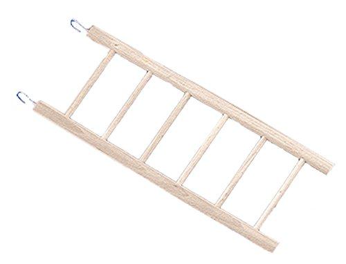 Nobby dunne ladder met 6 treden van hout voor vogels, 25,5 x 6,5 cm