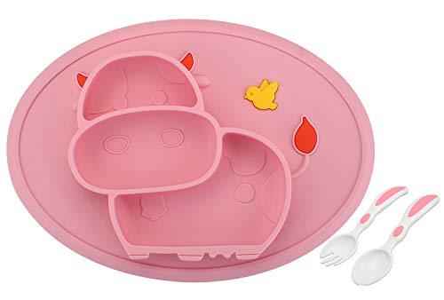 Baby Teller Schüssel Mini Silikon Tischset für Baby Kleinkinder und Kinder Tragbar Teller Baby Rutschfest Babyteller Tischset für die meisten Hochstuhlschalen (Kuh-1Pink)