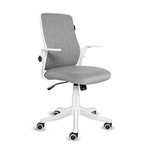 ELECWISH Office Chair Ergonomic Study Chair with Adjustable Armrests Swivel Home Office Desk Chair Mid Back Office Workstations Grey