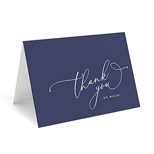 Bliss Collections Navy Blue Thank You Cards with Kraft Envelopes, Pack of 25, 4x6 Folded, Tented, Bulk, Perfect for: Wedding, Bridal Shower, Baby Shower, Birthday, or just to say thanks!