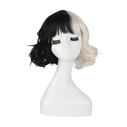 insp YK Cruella pelo negro y blanco bruja peluca moda chica malvada estilo cosplay Cruella Halloween traje accesorios chica peluca