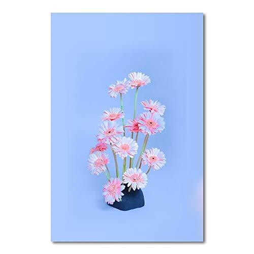 LiMengQi2 Cuadros de Pared para Sala de Estar Flores Rosadas Nodic Canvas Paining Decoración del hogar Carteles e Impresiones Pintura en la Pared (sin Marco)