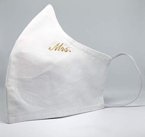 """Mund und Nasenbedeckung mit Fach für FFP Filter für Damen Hochzeit bestickt""""Mrs."""" in Gold waschbar weiß 100% Baumwolle hergestellt in Deutschland mit Gummibändern INKLUSIVE 2 FILTER!"""