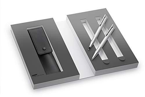 Lamy 1230490 Set de bolígrafo y portaminas con funda de piel en una caja de regalo M 206/106 cepillado, plata