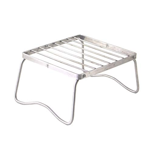Tragbare Open Fire Ständer-Rack Folding Lagerfeuer Grillrost Außen Mini Folding Compact Holzkohlegrilgrill Edelstahl Camp Herd Stehen Brennerfuß Rack-Camping Utensilien