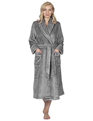 RAIKOU Kuschel weicher Bademantel Hausmantel, Loungewear Saunamantel für Damen, aus luxuriösem Flausch Coral Fleece auch als Morgenmantel perfekt (Anthrazit,44/46)