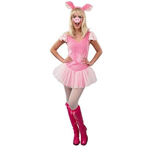Orlob Disfraz de Carnaval Vestido Piggy (Vestido, Diadema con Orejas, Nariz de Cerdo) L/X