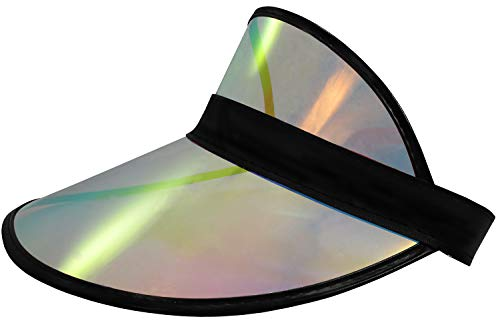 Tennis Beach Colored Plastic Clear Sun Bingo Vegas Dealer Golf Casino Visor Hat (Black/Silver Oil Slick)