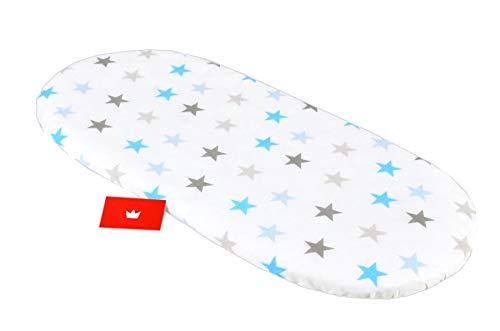 BABYLUX Spannbettlaken für Kinderwagen Stubenwagen Baby Spannbetttuch Wiege Stuben Bettlaken (94. Sterne Blau)