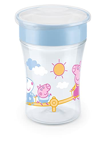 NUK Peppa Pig Magic Cup 230ml, 360°-Trinkrand, abdichtende Silikonscheibe, ab 8 Monaten, BPA frei