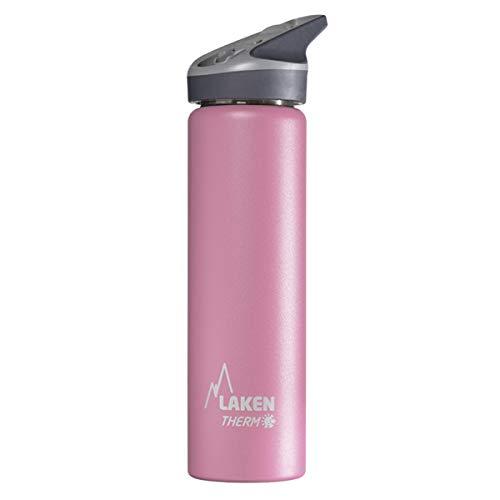 Laken Jannu Botella de Agua Térmica Acero Inoxidable 18/8 y Doble Pared de Vacío, Hasta 24 Horas de Frío, Rosa, 750 ml