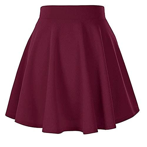 N\P Falda plisada elástica de primavera y verano para mujer, rosso, 36