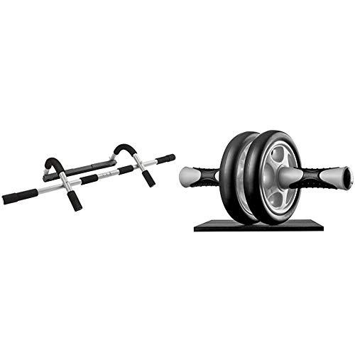 Ultrasport Klimmzugstange Türreck, Klimmzugstange & Bauchtrainer AB Wheel,Bauchmuskeltrainer für Zuhause, zum Trainieren von Bauchmuskeln, Rücken & Schultern,Oberkörper-Roller