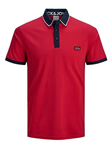 Jack & Jones - Polo da uomo Jjebasic Ss Noos Jj_chines Red M