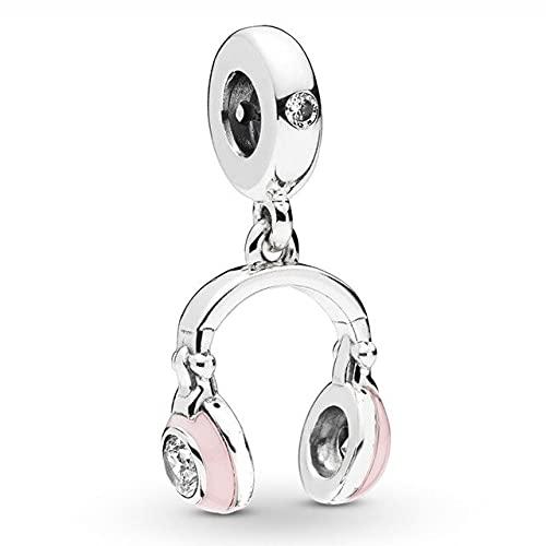 Pandora 925 plata esterlina colgante DIY Qandocci rosa flor auriculares riego puede dumbo rosa trébol mariquita ajuste pulsera cuentas
