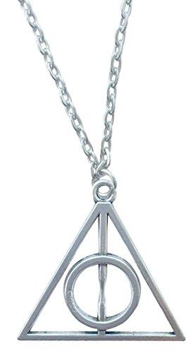 Fashion Jewerly, collana con ciondolo a triangolo dei Doni della Morte, argento, per cosplay
