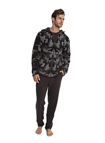 Barefoot Dreams CozyChic Men's Camo Zip-Up Hoodie, Camouflage Menswear, Fashion Jacket, Carbon Multi, XX-Large