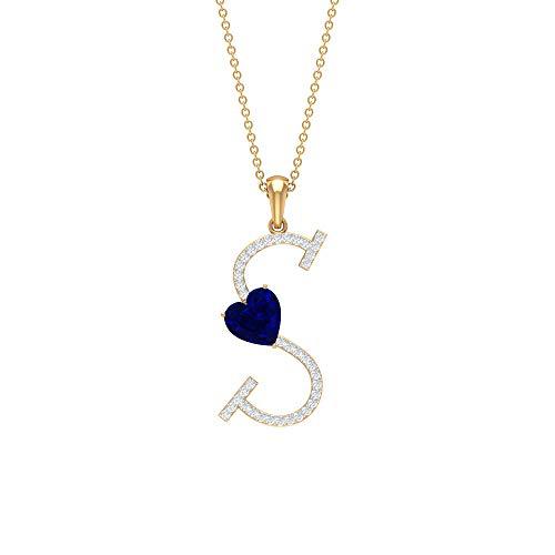 Collar de corazón de zafiro azul de 7 mm, colgante de inicial de moissanita de 1/4 quilates, collar de oro con letra S azul