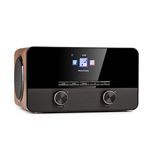 auna Connect 100 SE - Radio con Internet, Teproductor Multimedia, Bluetooth, WiFi para conectar en Red, Control por App, Pantalla TFT en Color de 2,4 , USB, Entrada AUX, Salida de línea, Marrón