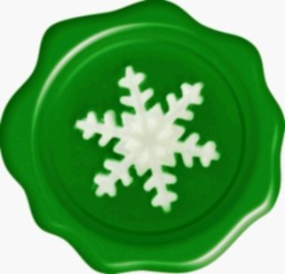 Advanced Printing 60 Christmas 3D Wax Seal Effect Flat Vinyl Labels - White Snowflake on Green For Cards, presents, envelopes and just about anywhere else