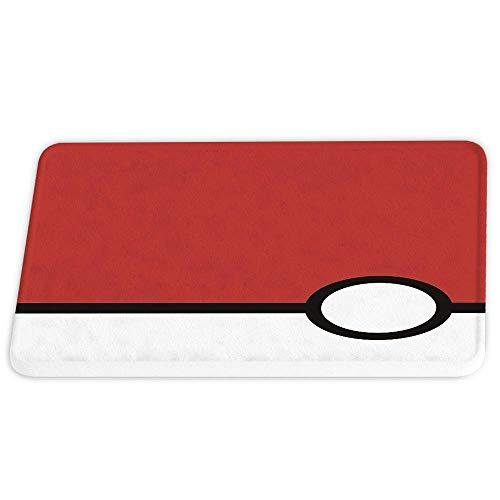 Pokemon Ball Game Coral Velvet Tapis de bain Tapis de douche antidérapant pour salle de bain Decor Sets Tapis de porte avec support en caoutchouc Absorbant Tapis de sol de cuisine Rouge et blanc