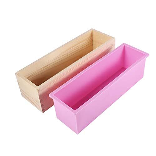 Brrnoo - Molde de silicona para el jabón de rectángulo, el moho del jabón del revestimiento de silicona, caja de madera, herramienta de fabricación Fai-da-Te para hornear el moho del pan de la tarta