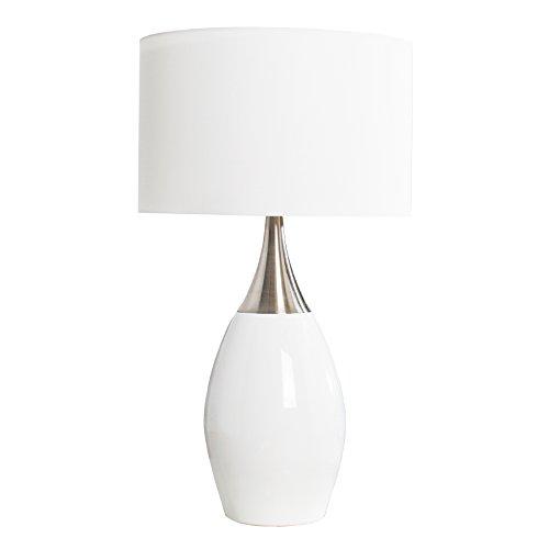Moderne Tischlampe CARLA weiß 60cm E27 Tischleuchte Wohnzimmerlampe Textilschirm Nachttischlampe