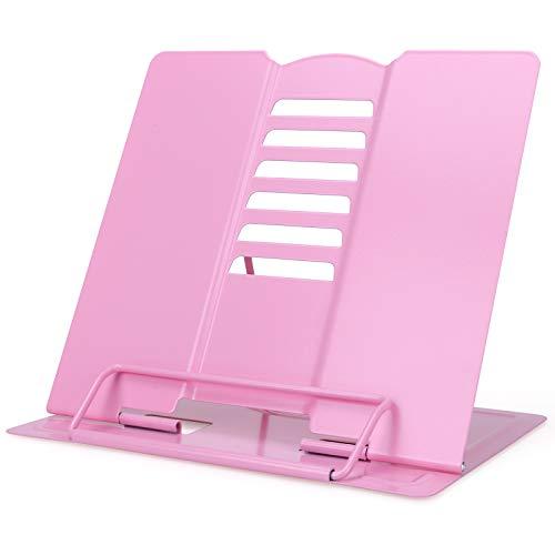 GUBOOM Atril para Libros, 6 ángulos Ajustable Soporte Libros, Metal Soporte para Libro de Cocina, iPad, Documentos, Libros de Música (Rosa)