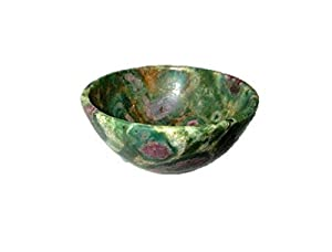 """Jet Natural Ruby Fuschite Bowl 2"""" Free Booklet Jet International Crystal Therapy Gemstone A+ Hand Carved Crystal Altar Healing Tray Dish"""