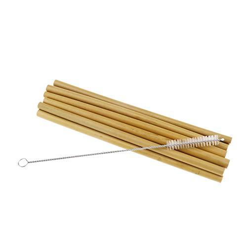 Create Idea - Cannucce in bambù biodegradabile organico naturale, riutilizzabili, ecologiche, con spazzola di pulizia, tasca pulita