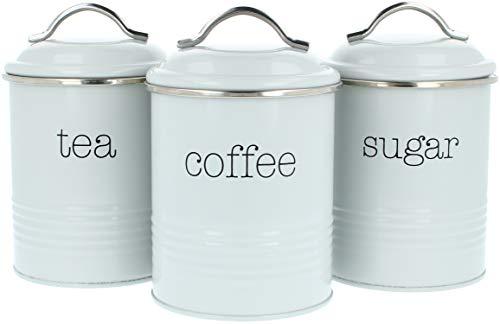 com-four® 3x Vorratsdosen im Vintage Design, Runde Kaffeedose aus Metall mit Aromaverschluss, Nostalgie Kaffee, Zucker und Teedose im Set (03 Stück - 1000ml grau)