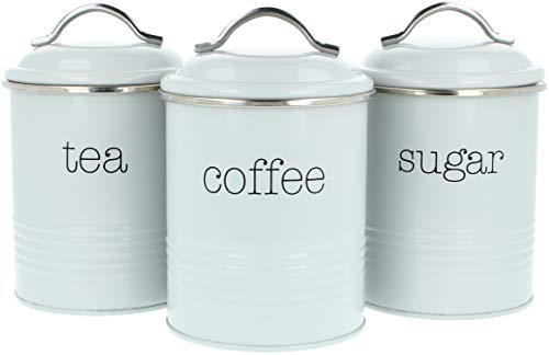 com-four 3x cajas de almacenamiento vintage, lata de café redonda de metal con cierre de aroma, juego de carrito de café, azúcar y té Nostalgia (03 piezas - 1000ml gris)