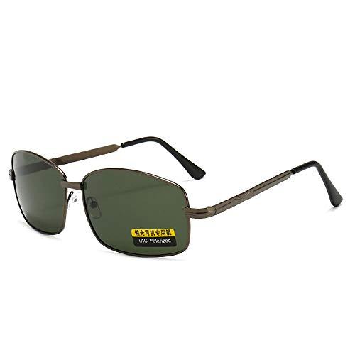 LOYWT Nuevas Gafas de Sol polarizadas de Metal Que conducen una película Verde Oscuro con Espejo Cuadrado