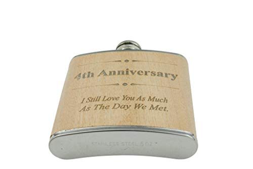 4th Anniversary Hip Flask 4 Year Anniversary Gift For Him
