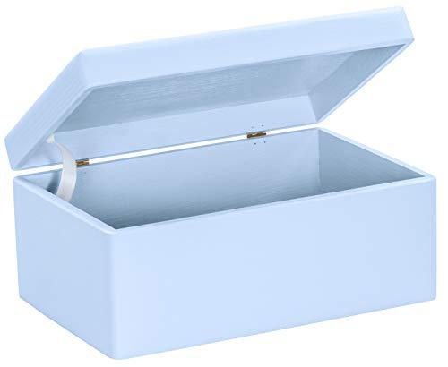 LAUBLUST Große Holzkiste mit Deckel - 30x20x14cm, Blau, FSC® | Allzweck-Kiste aus Holz - Aufbewahrungskiste | Spielzeug-Truhe | Erinnerungsbox | Geschenk-Verpackung | Deko-Kasten zum Basteln