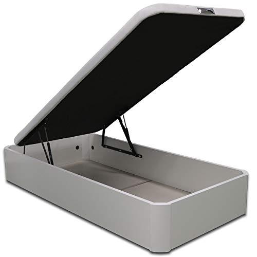 Ventadecolchones - Canapé Abatible de Madera - Gran Capacidad Madera Blanca Medidas 90 x 190 cm