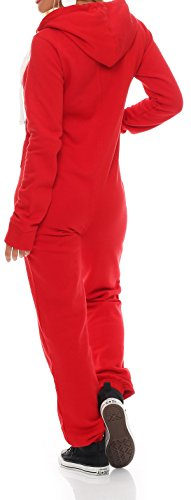 Hoppe Damen Jumpsuit Jogger Einteiler Jogging Anzug Trainingsanzug Overall (XL, Rot) - 3
