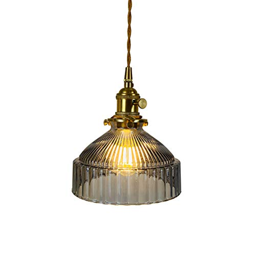 Lámpara Colgante De Vidrio Sombra Moderna Lámpara De Techo Pantalla De Vidrio Accesorio De Lámpara De E27 Lámpara Colgante Droplight para Decoración Interior Lámpara Colgante Retro-Gris 18x20cm(7x8inc