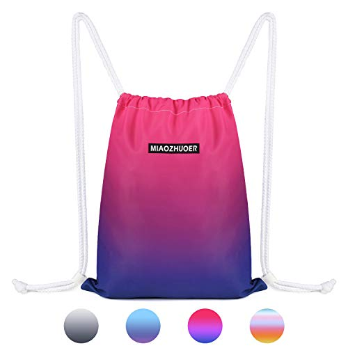 Drawstring Backpack String Bag Sackpack Cinch Water Resistant Nylon for Gym Shopping Sport Yoga by WANDF (Rose Red 6036)