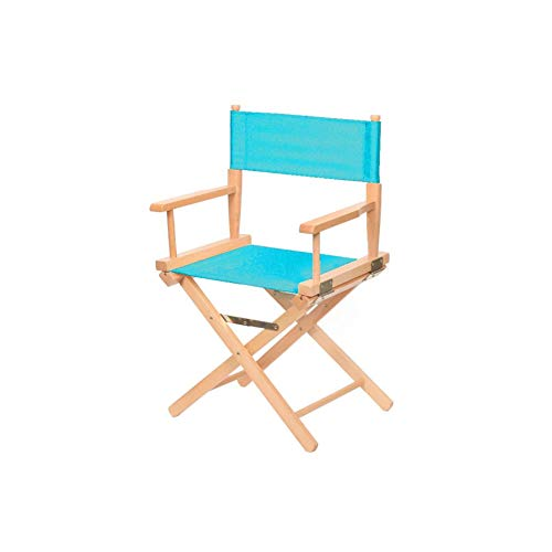 Foldable Portable Chair Picnic Fishing Camping Outdoor Chair Home Computer Office Solid Wood Chair Sky Blue D-20-10-26