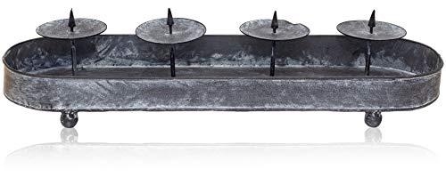 B2S BACK2SEASON Kerzenhalter mit 4 Kerzentellern Metall Adventszeit Kerzenleiste Adventsgesteck Grau Vintage länglich 1234 L=50cm